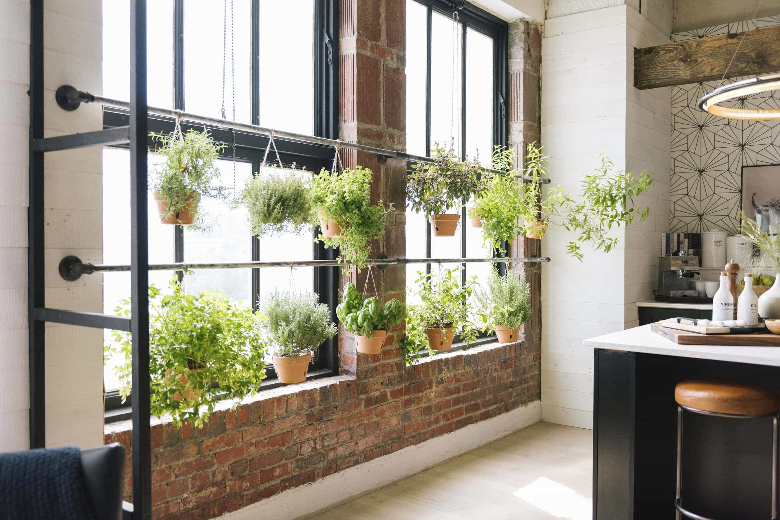 inside the queer eye apartment indoor plants exposed brick wall