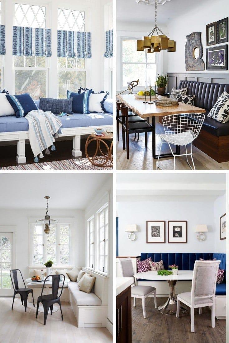navy blue velvet upholstered banquette seating for dining room