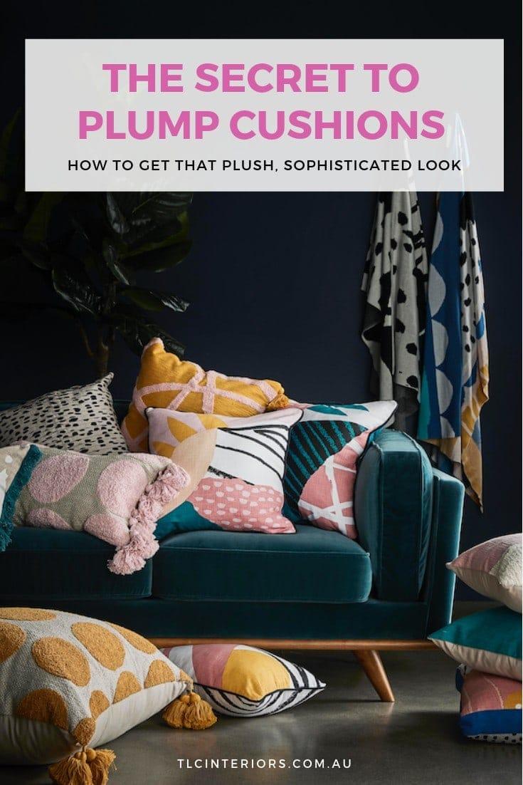 plush cushion inserts in cushion covers on sofa