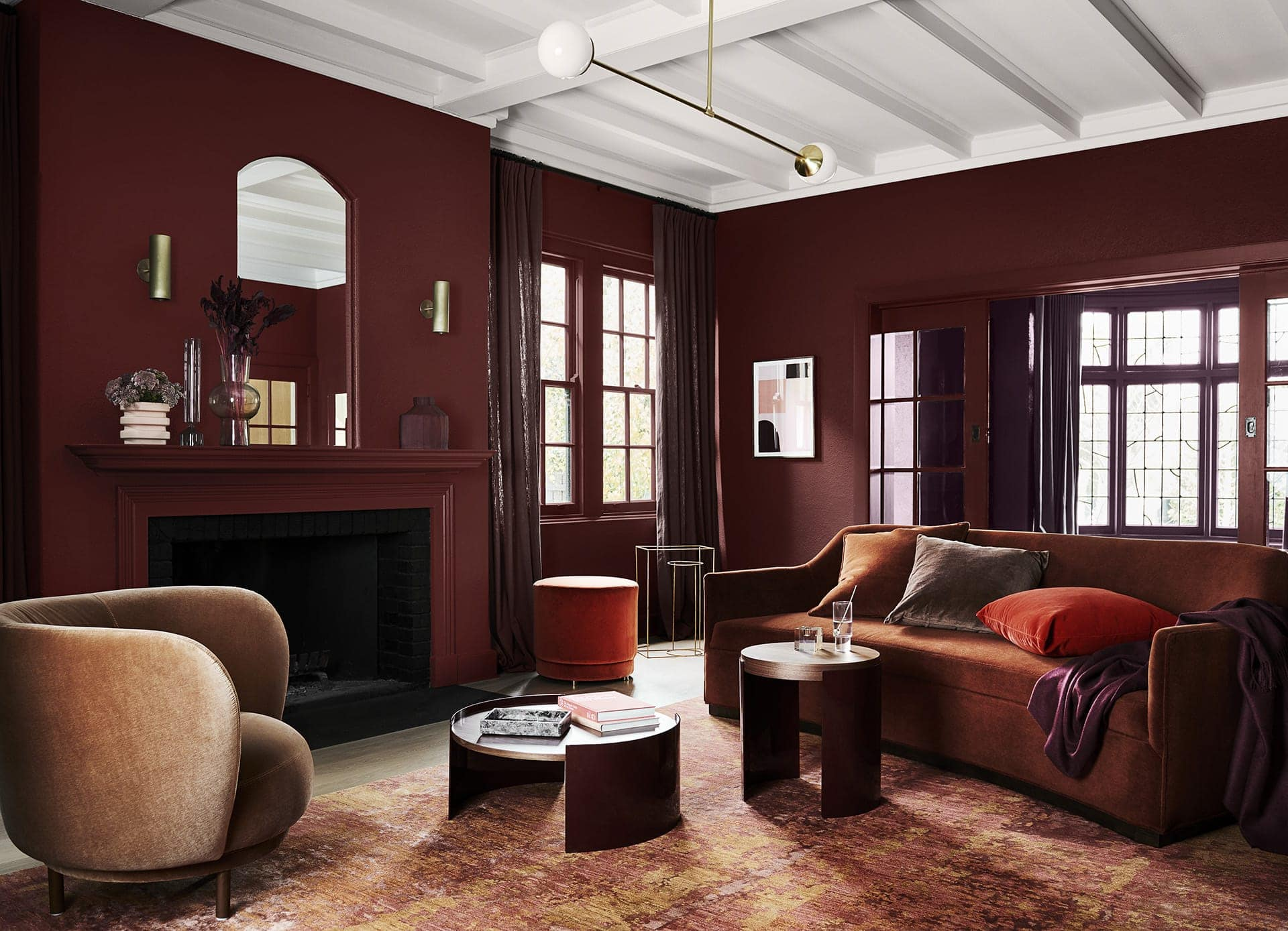 dulux 2020 colour forecast dark maroon living room with brass accents