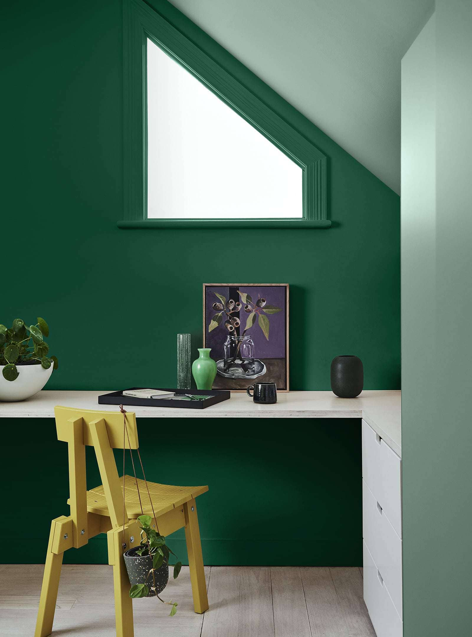 dulux green paint colours bright green teen bedroom with study desk and yellow chair