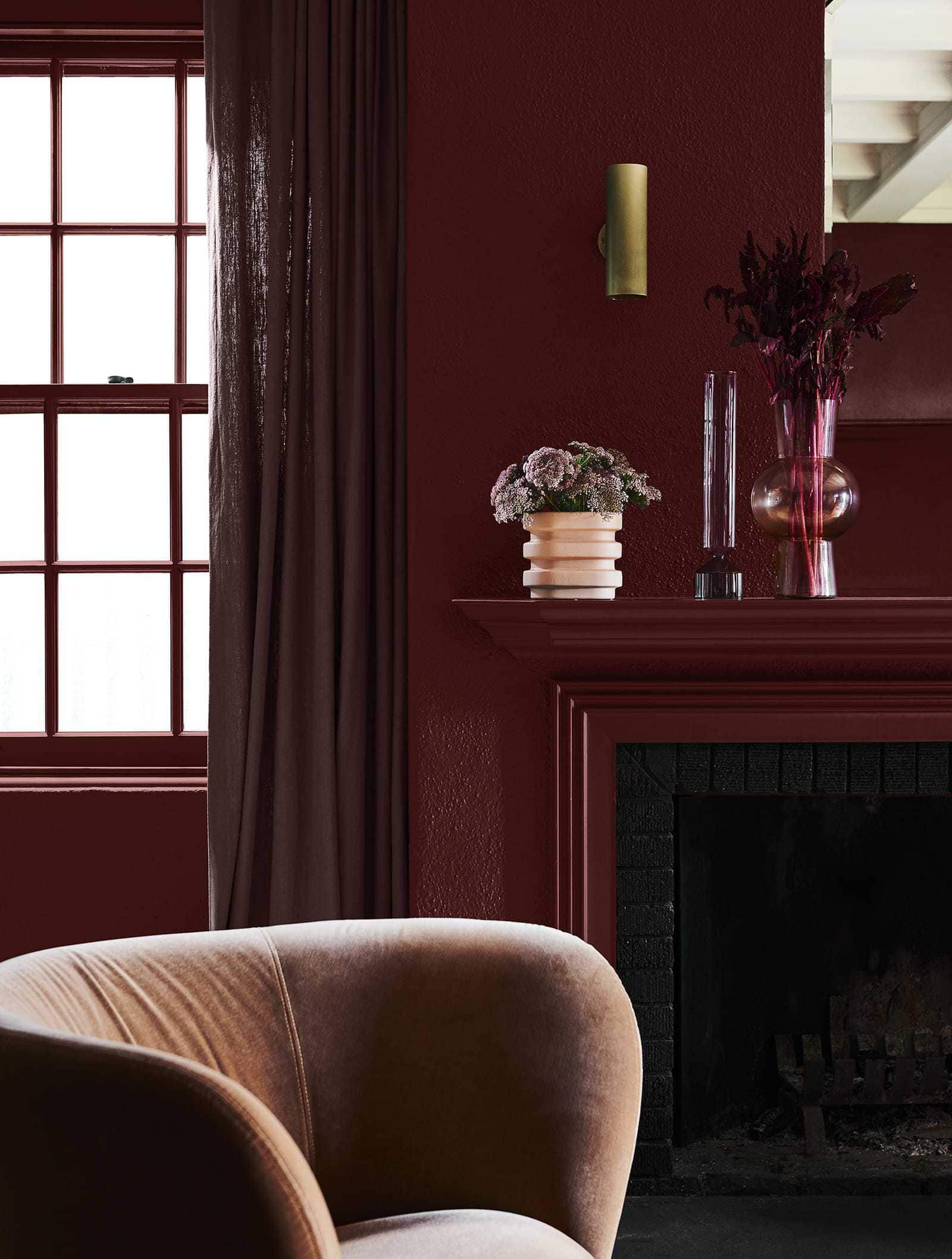living room with burgundy walls dulux red paint feature wall in dark room