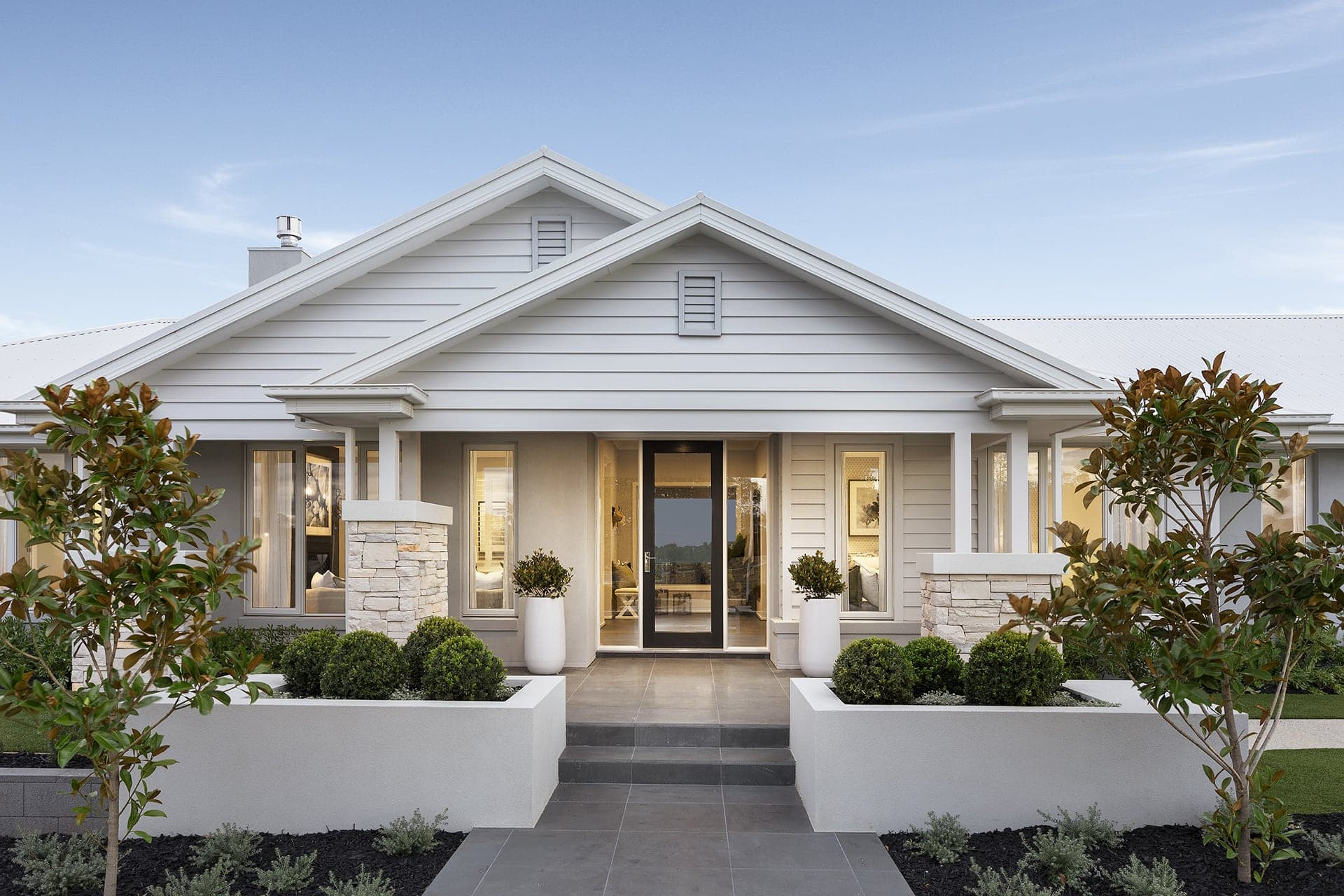 modern country interior design home hamptons style facade by metricon homes