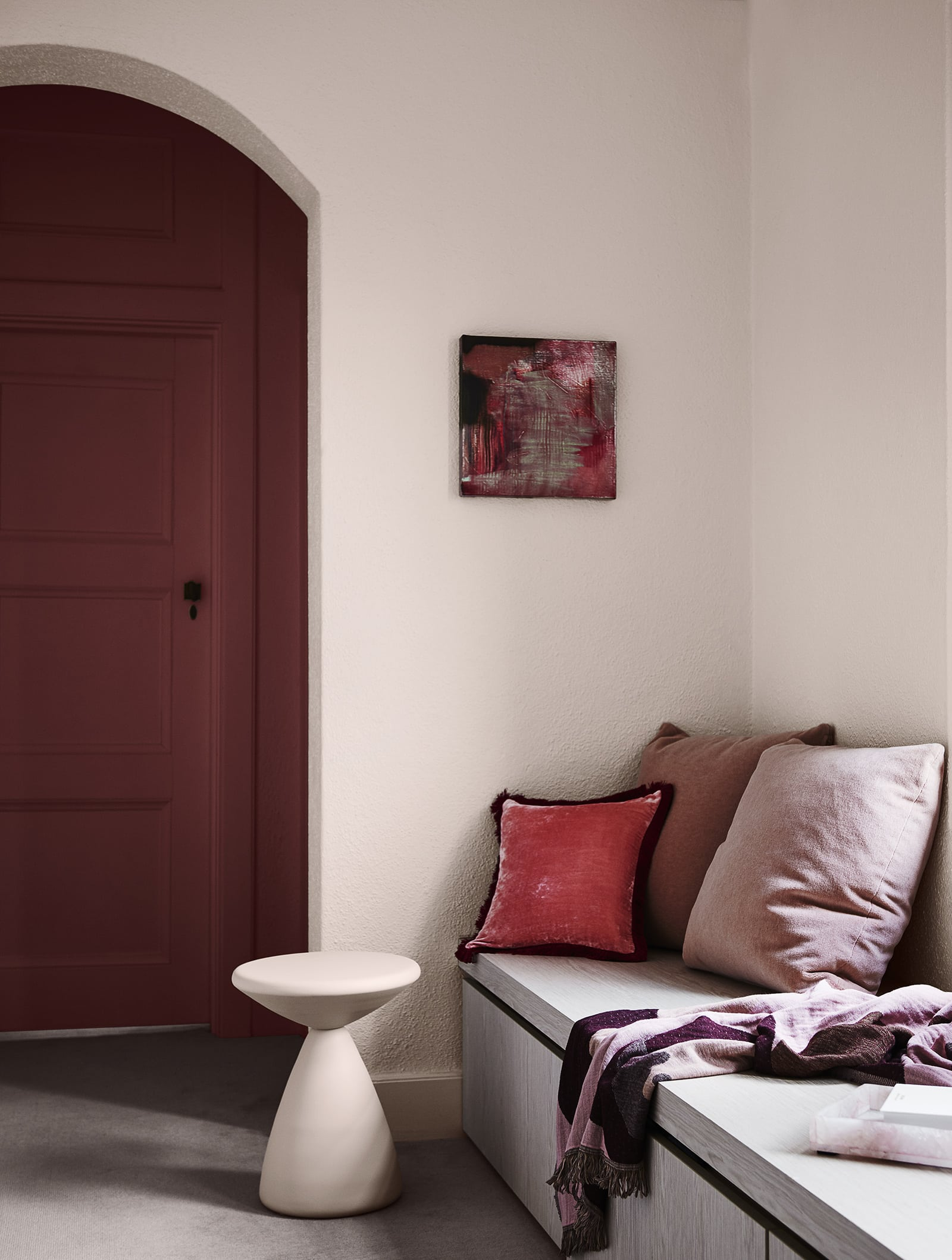 pale pink room with burgundy door dulux colour forecast