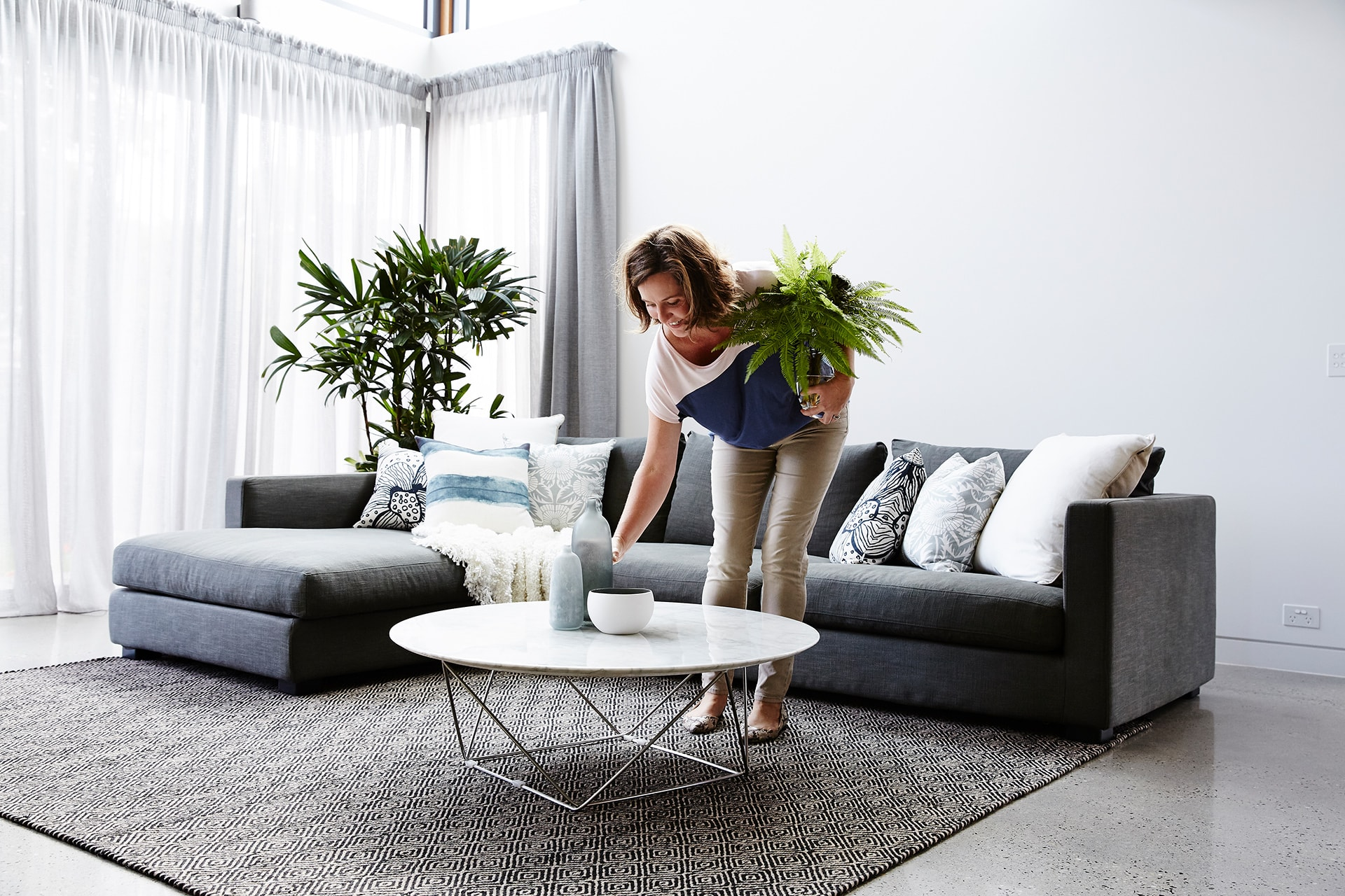 coastal luxe living room property styling melbourne director suzanne commerford
