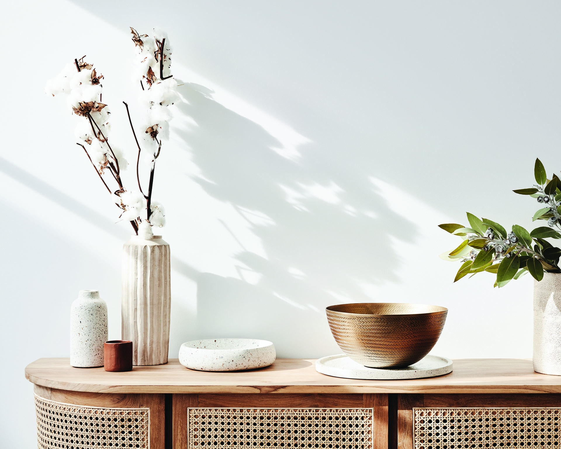 globewest Willow Curve Buffet and terrazzo vase and terrazzo bowl