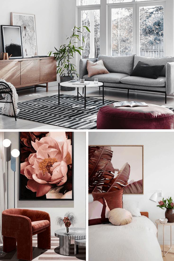 grey and maroon interior design mood board globewest and urban road