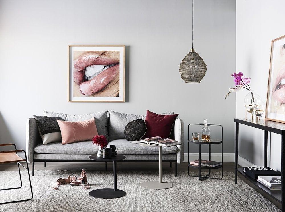 grey and maroon rental apartment interior design by nathan and jac