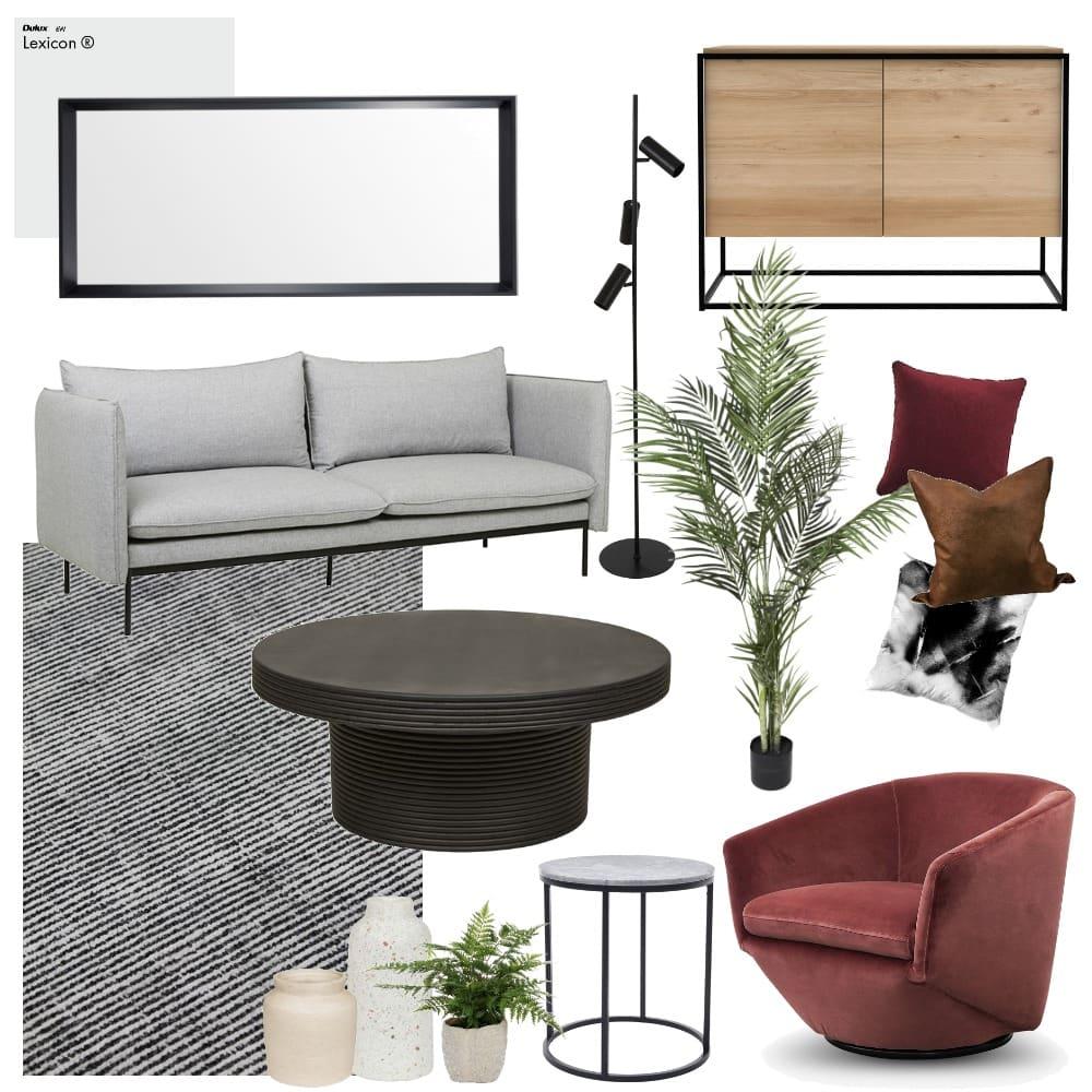 grey and maroon rental apartment interior design mood board