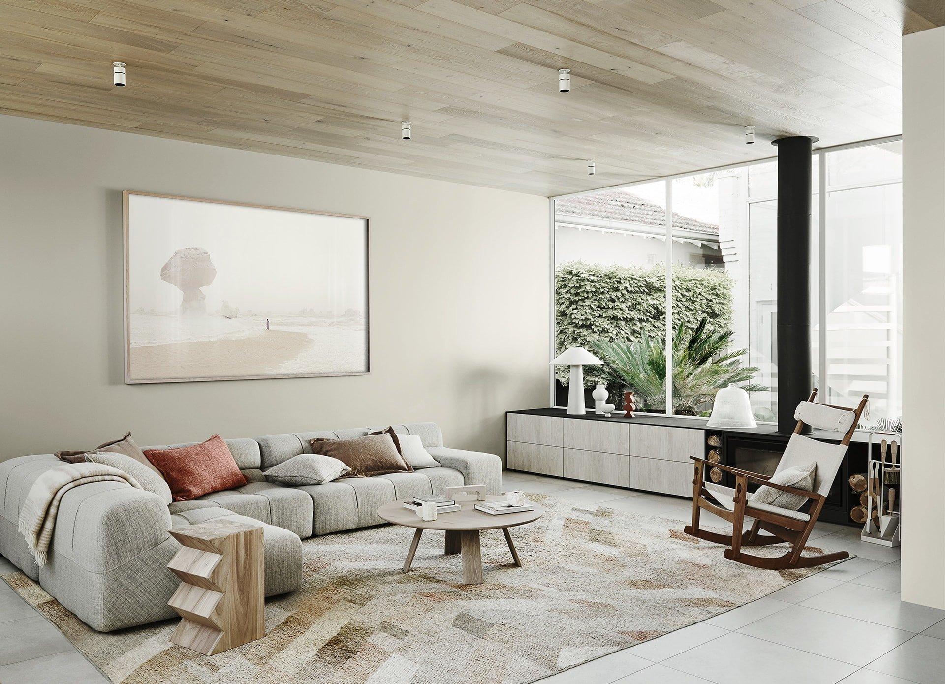 neutral interior design scheme living room with soft grey sofa dulux