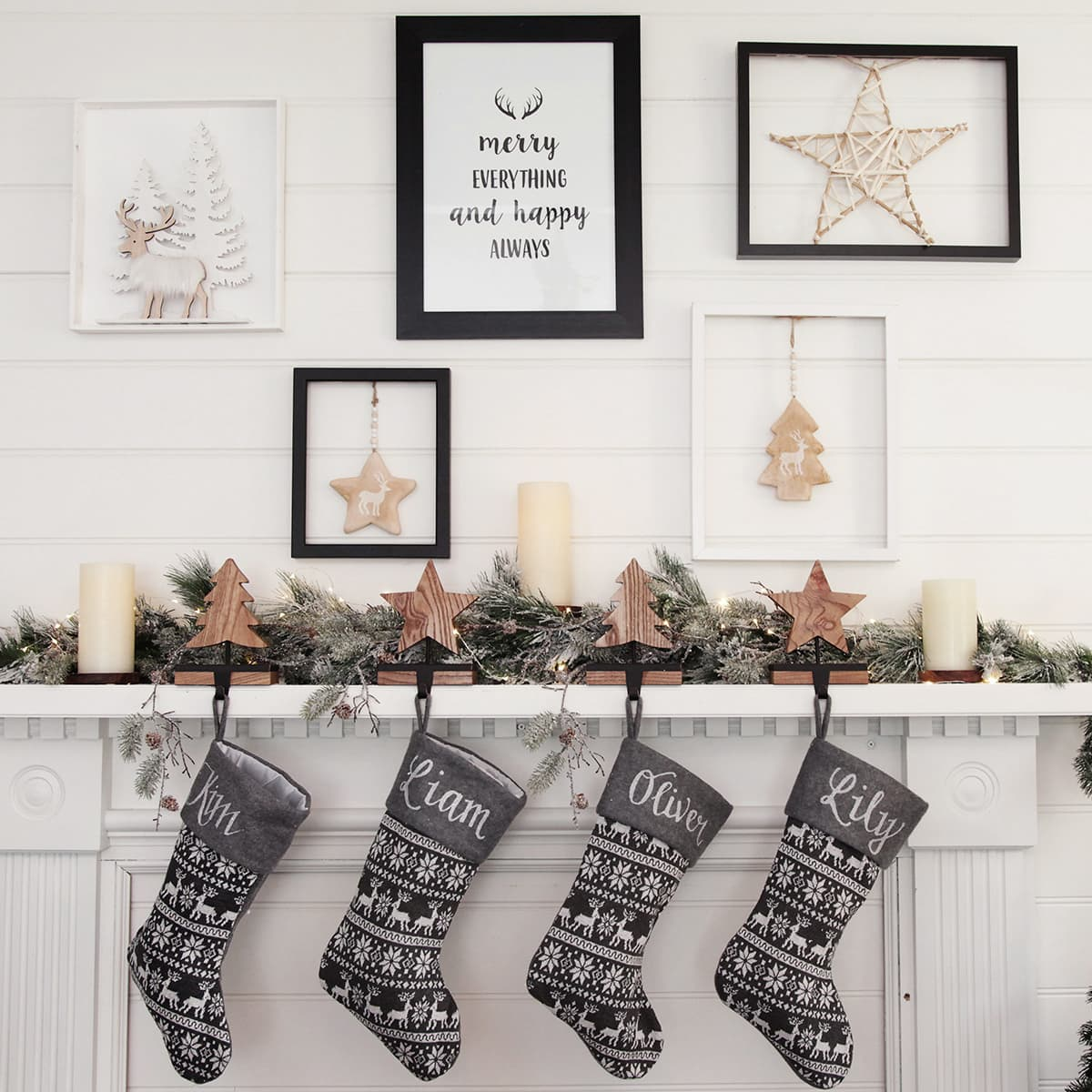 personalised christmas stockings from christmas cave on mantle scandi christmas decorations