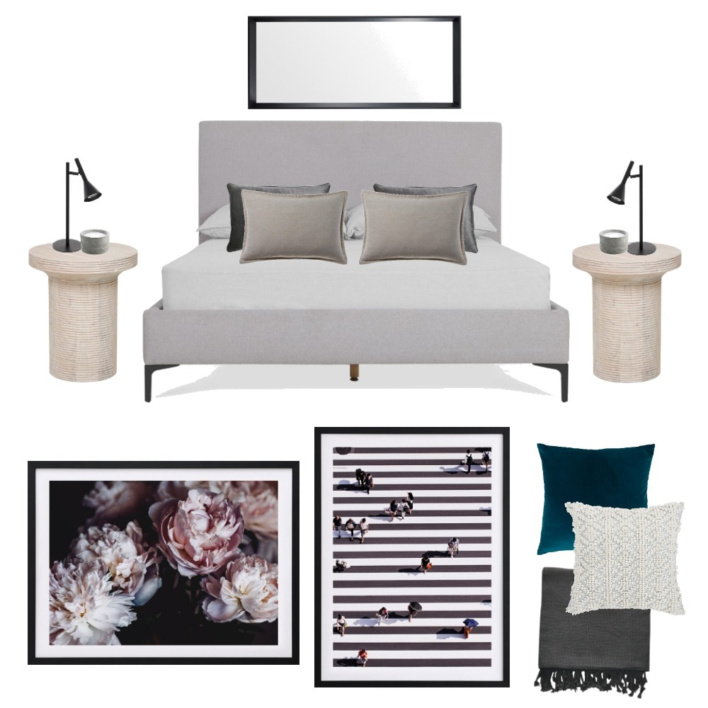 rental apartment interior design mood board grey headboard and floral art from urban road