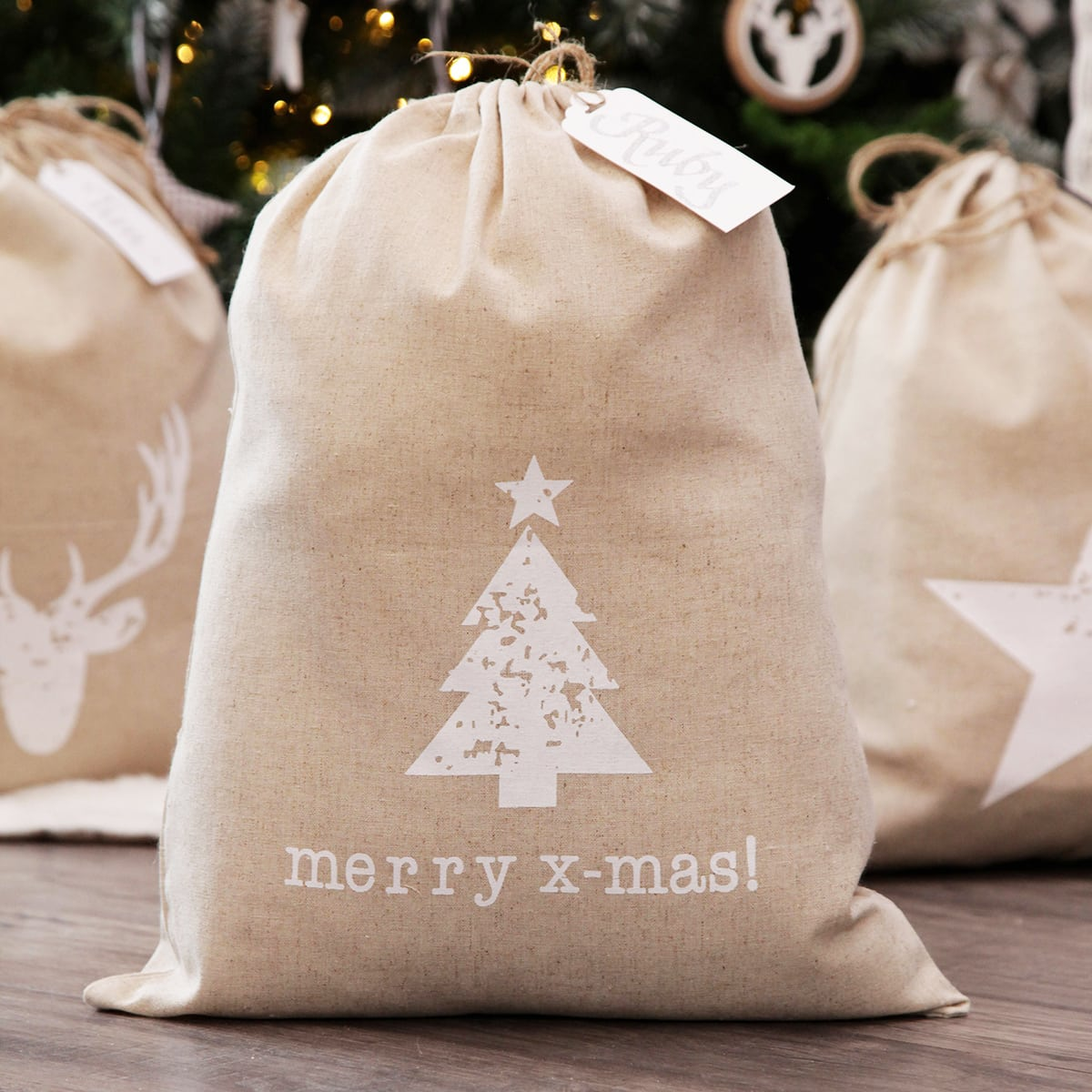 scandi christmas decorations burlap christmas sack personalised santa sack
