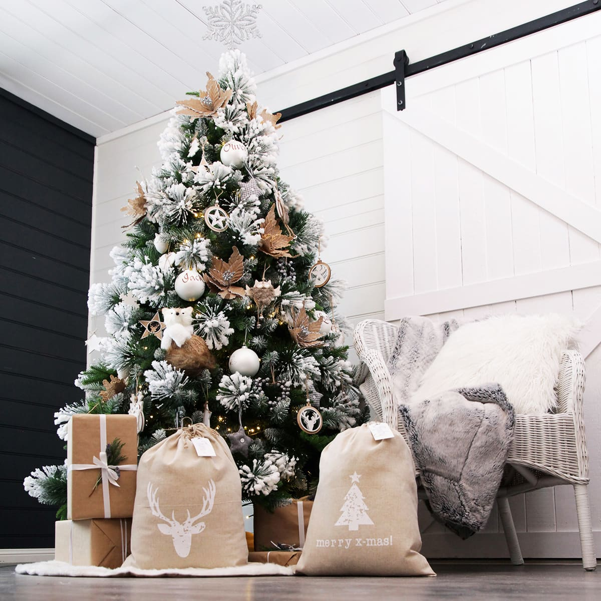 scandi christmas decorations scandinavian christmas treet with white snow tips and brown paper presents