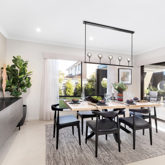 what height to hang pendants over dining table metricon display home dining room