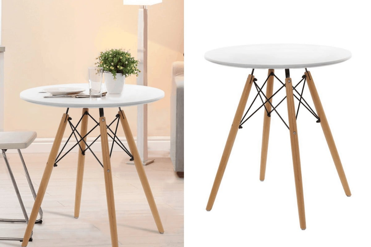 60cm small white round dining table from catch