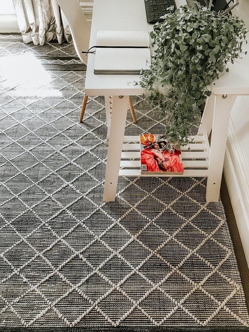 Lykke black diamond pattern rug in home office miss amara