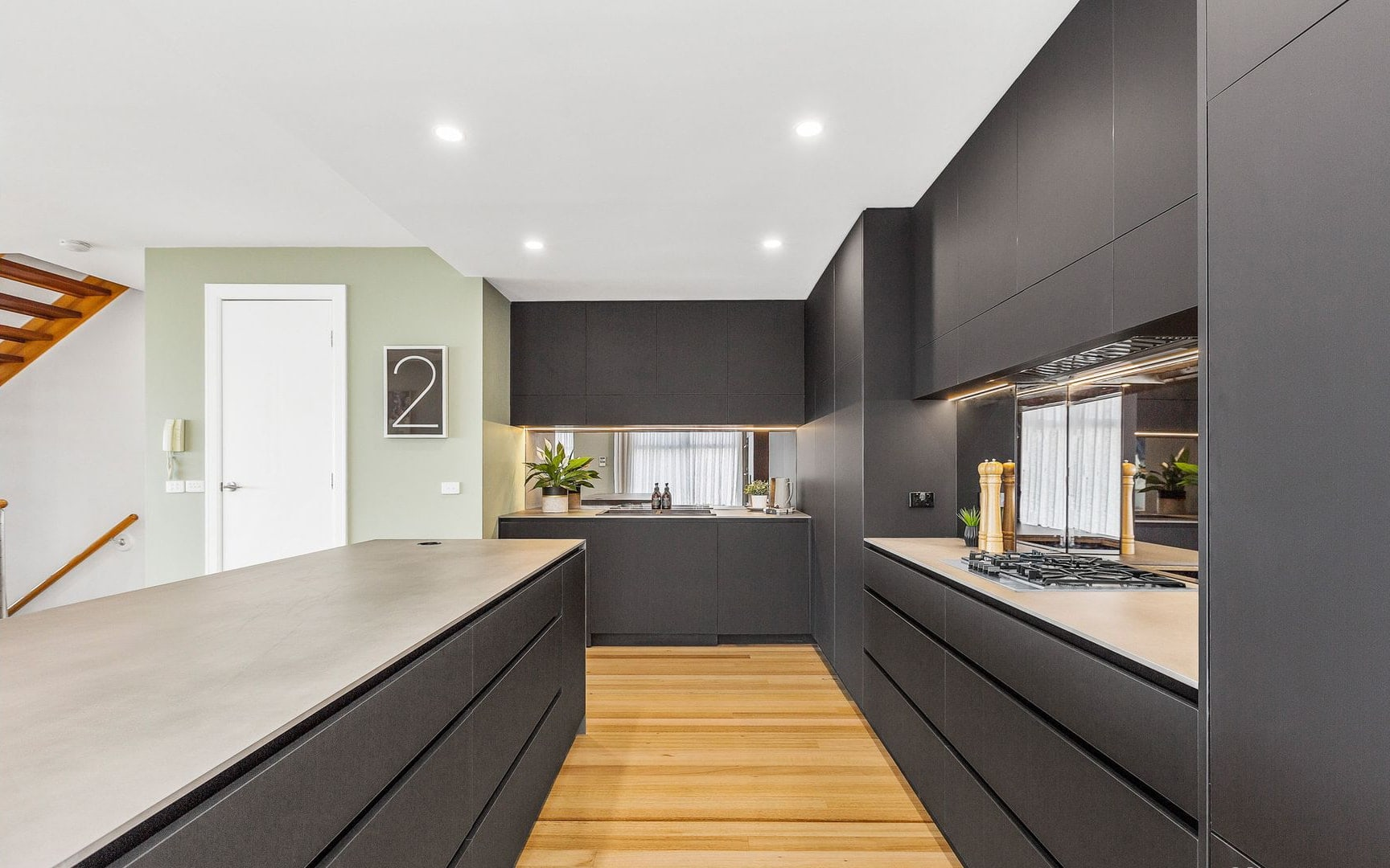 black laminex kitchen cabinets industrial kitchen with concrete benchtops