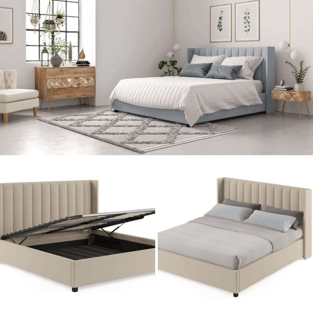 brosa megan gas lift bed with storage underneath in upholstered grey fabric