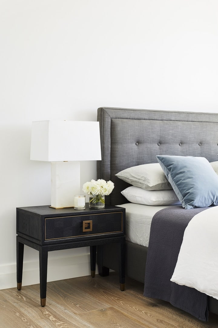 coco republic bedside table styling with square lampshade and luxe styling