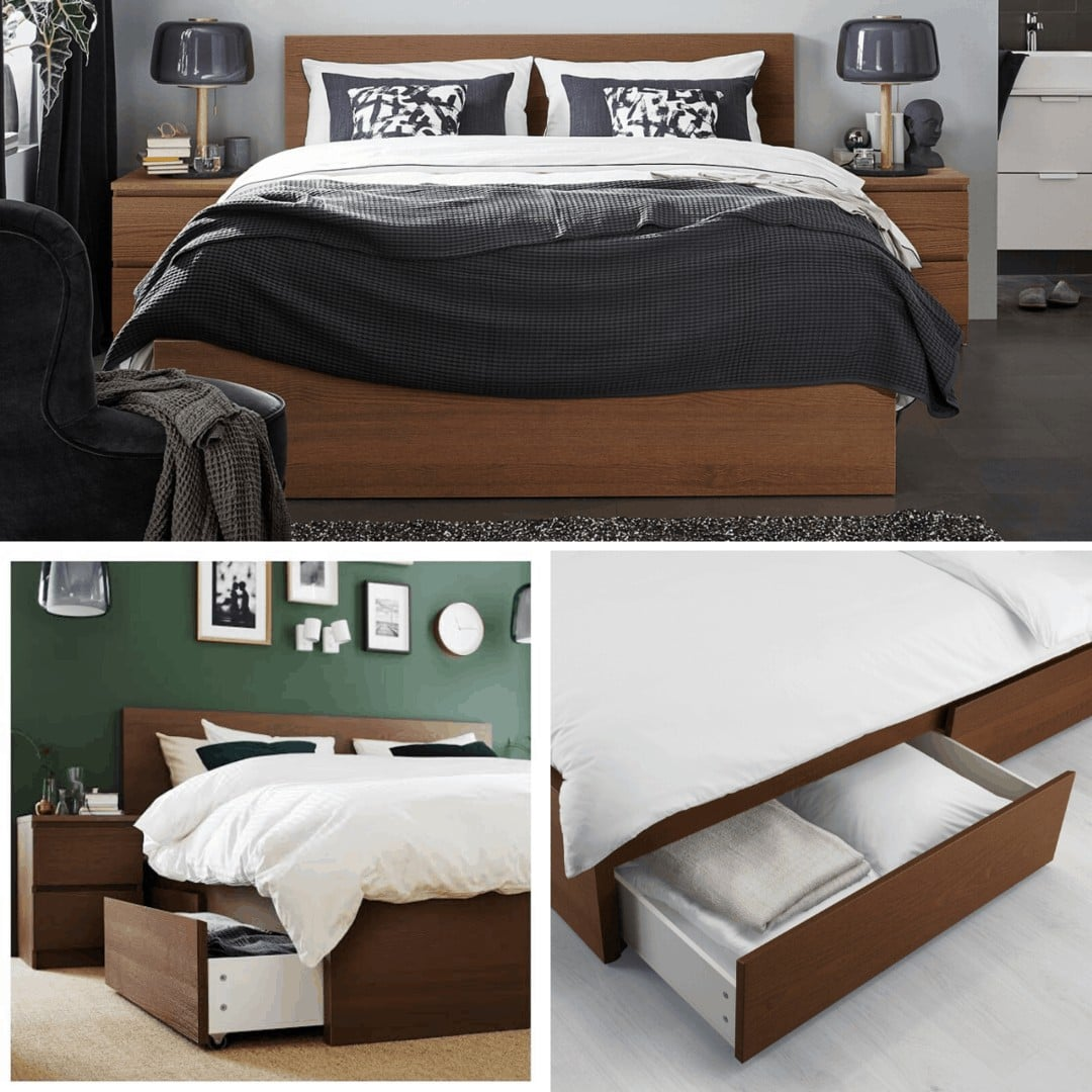 ikea malm bed with storage underneath in dark brown