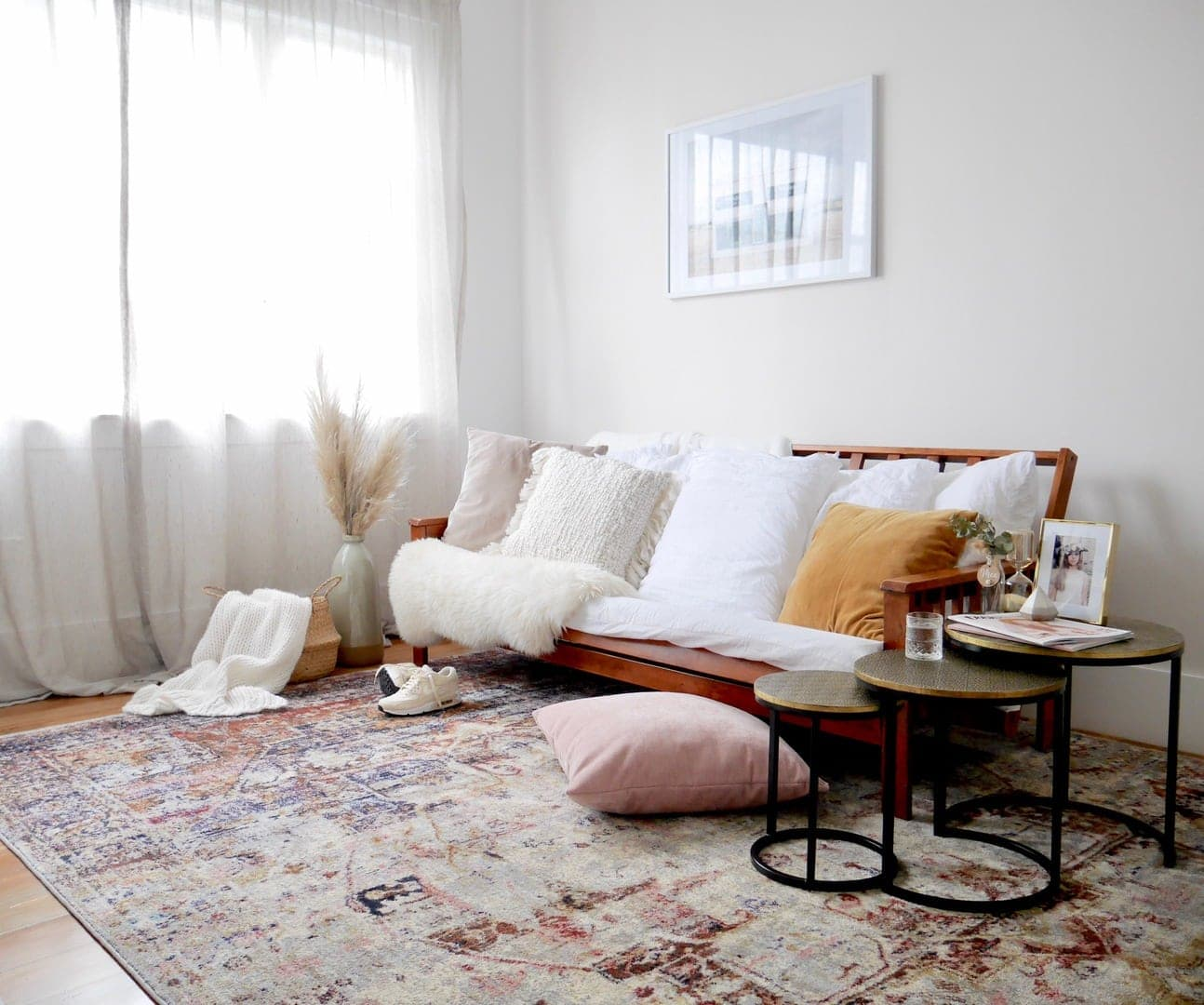 multi coloured moroccan style rug in living room miss amara