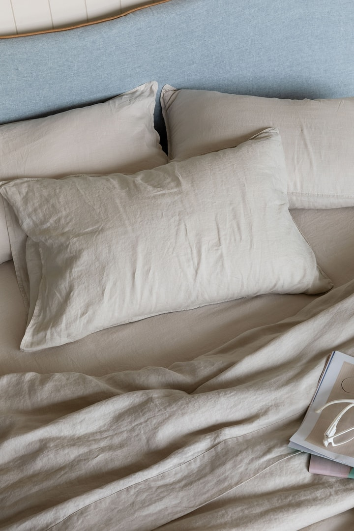 beige french organic linen quilt cover set lmhome
