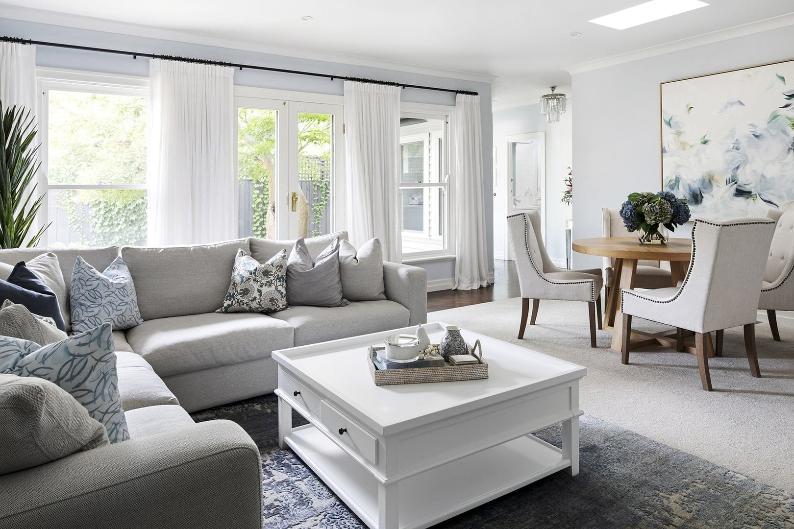 classic hamptons interior design scheme hamptons white square coffee table in light blue living room