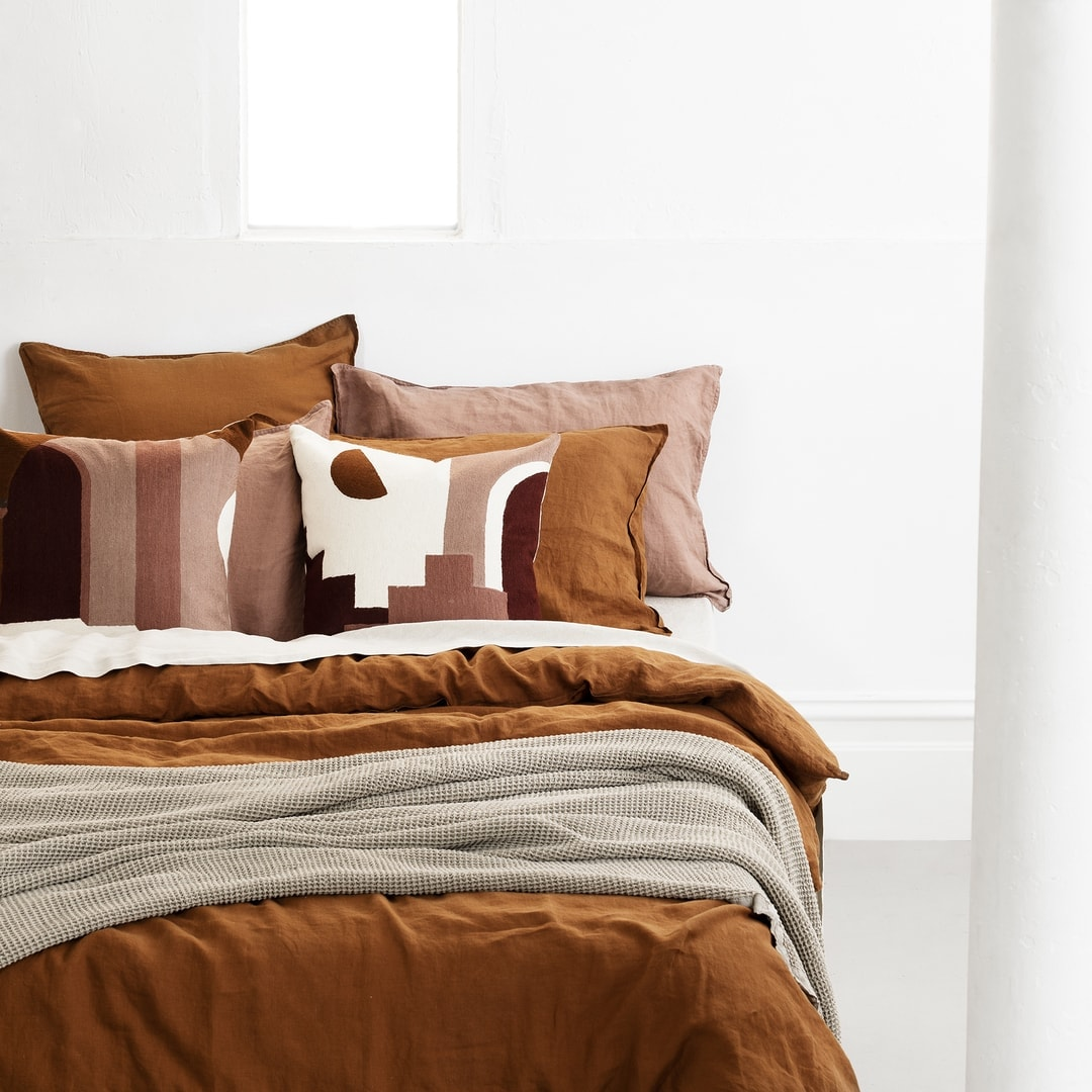 french linen quilt cover set in burnt orange lmhome bed linen