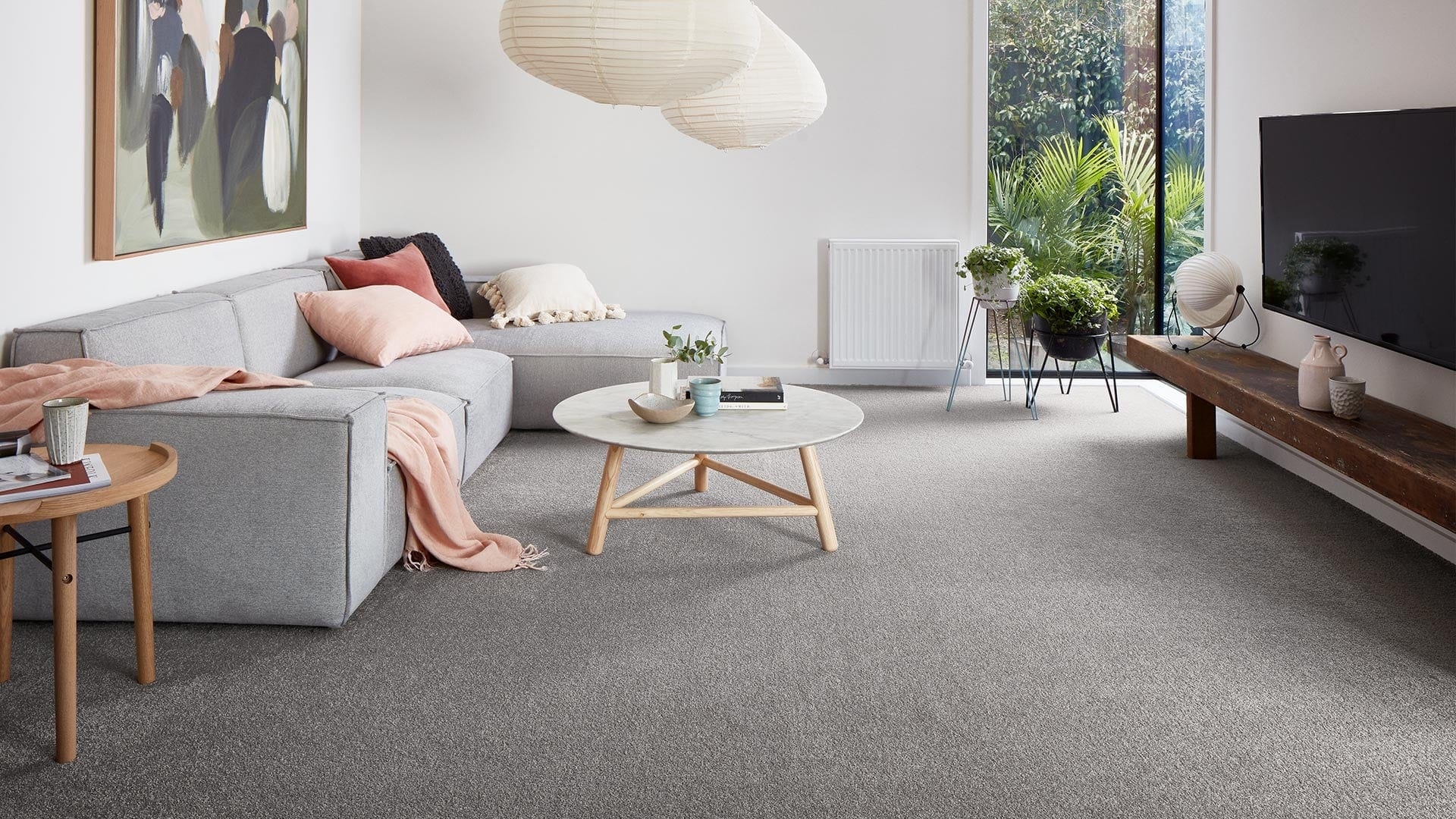 godfrey hirst carpet in living room with grey solution dyed nylon carpet