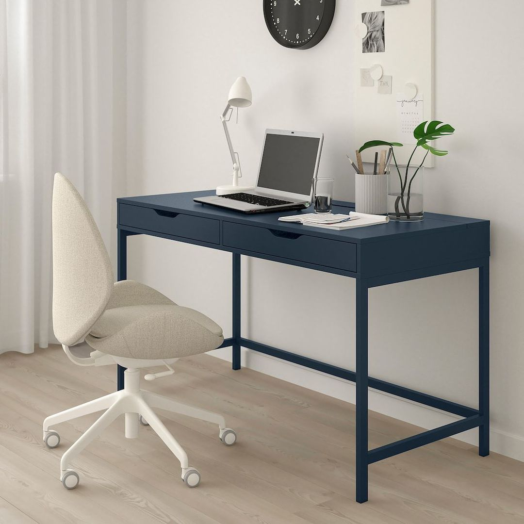 ikea blue alex desk for kids bedroom with white chair on wheels