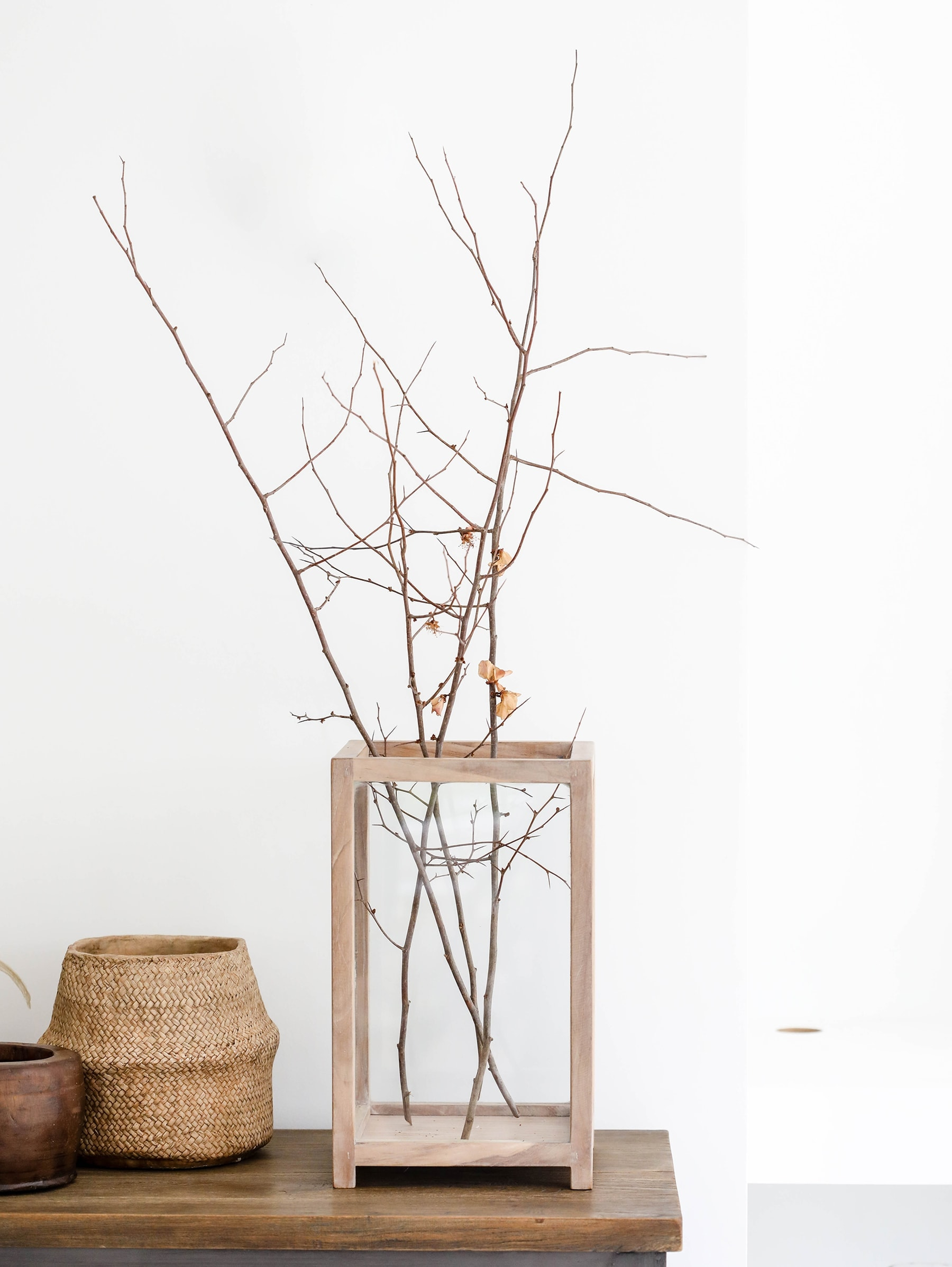 kenya candle holder ox design autumn decorating vignette twigs in glass vase