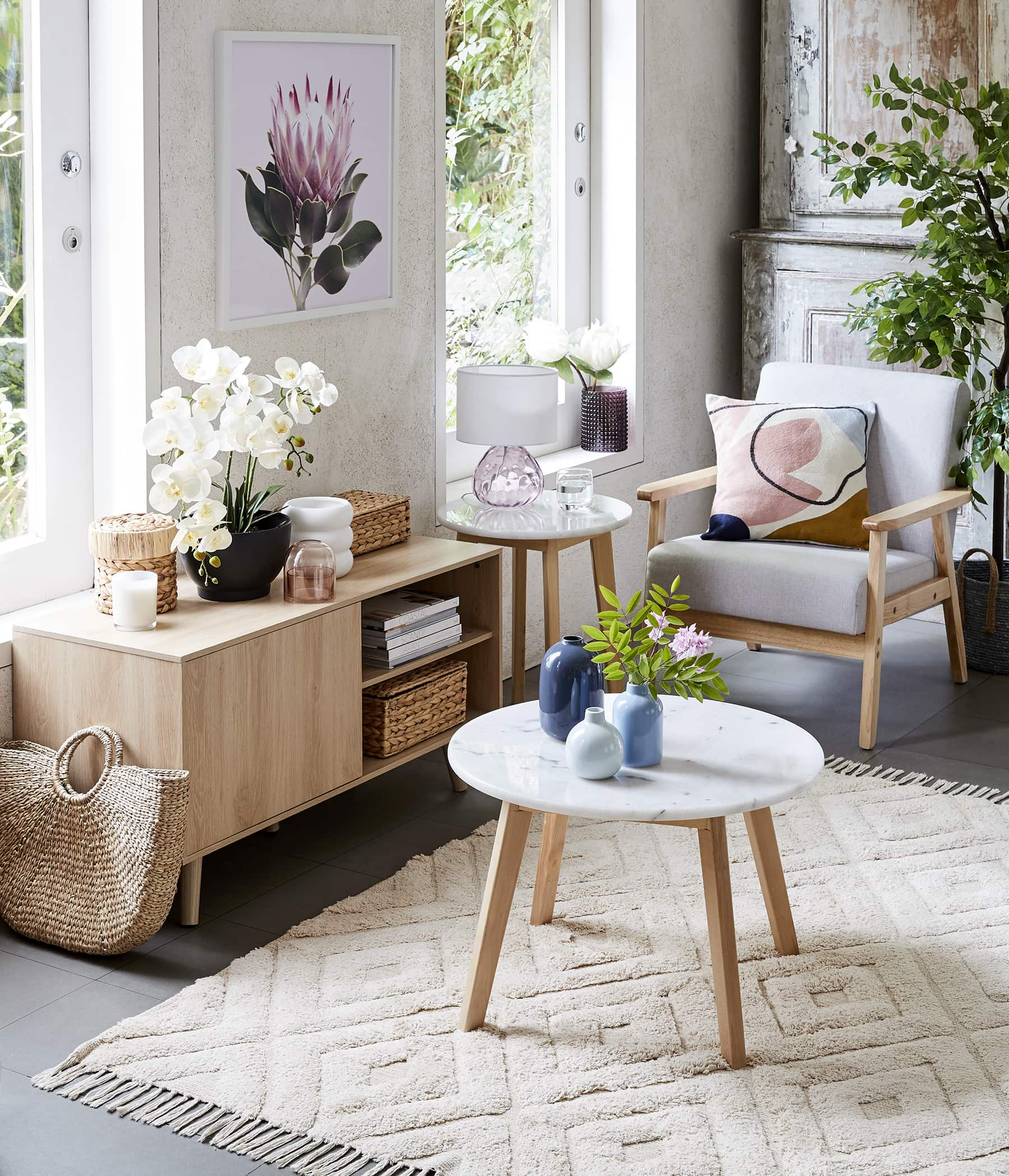 kmart 2020 home small living room with marble coffee table and marble side table