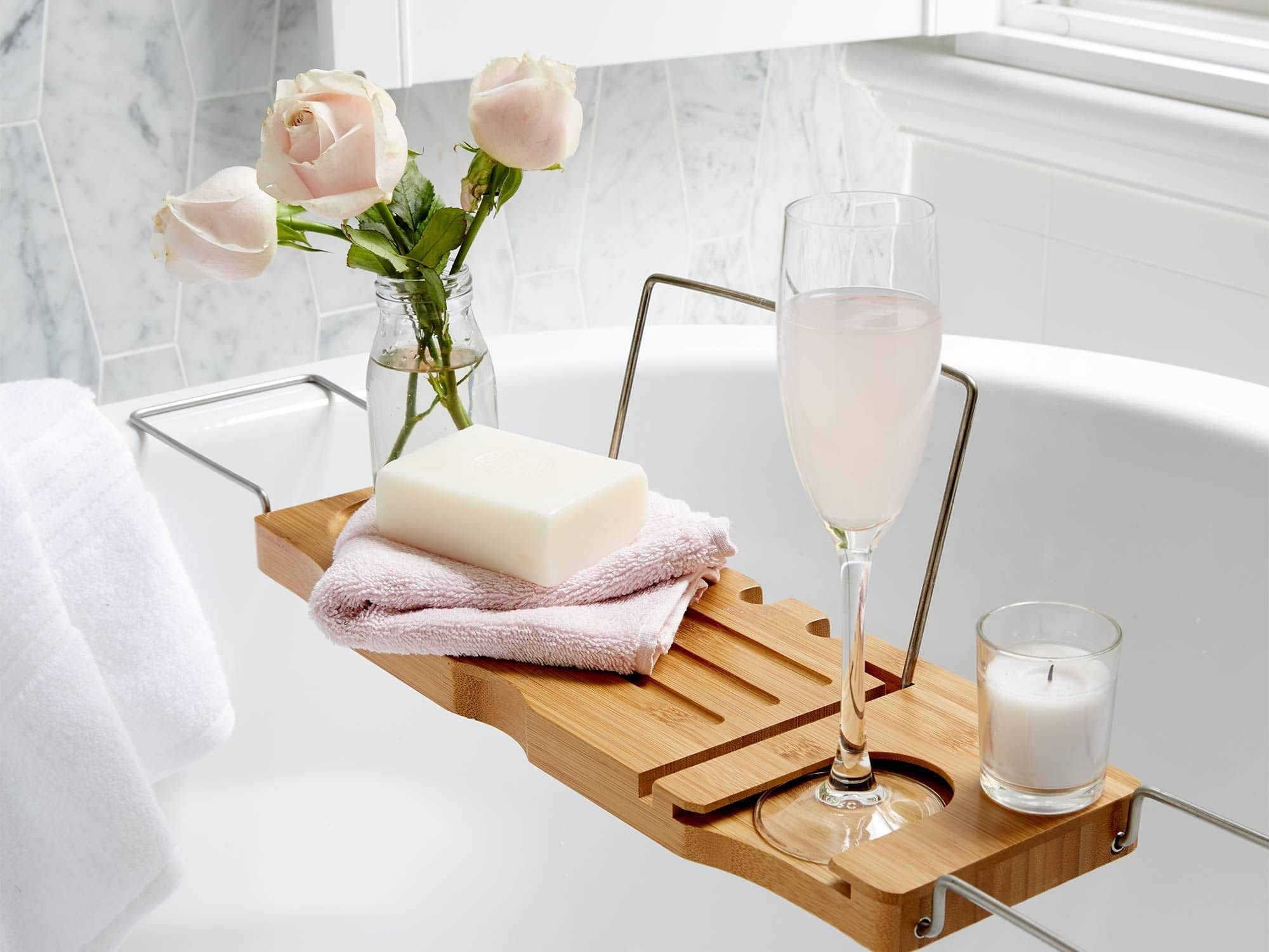 kmart bath caddy styled with flower and wine