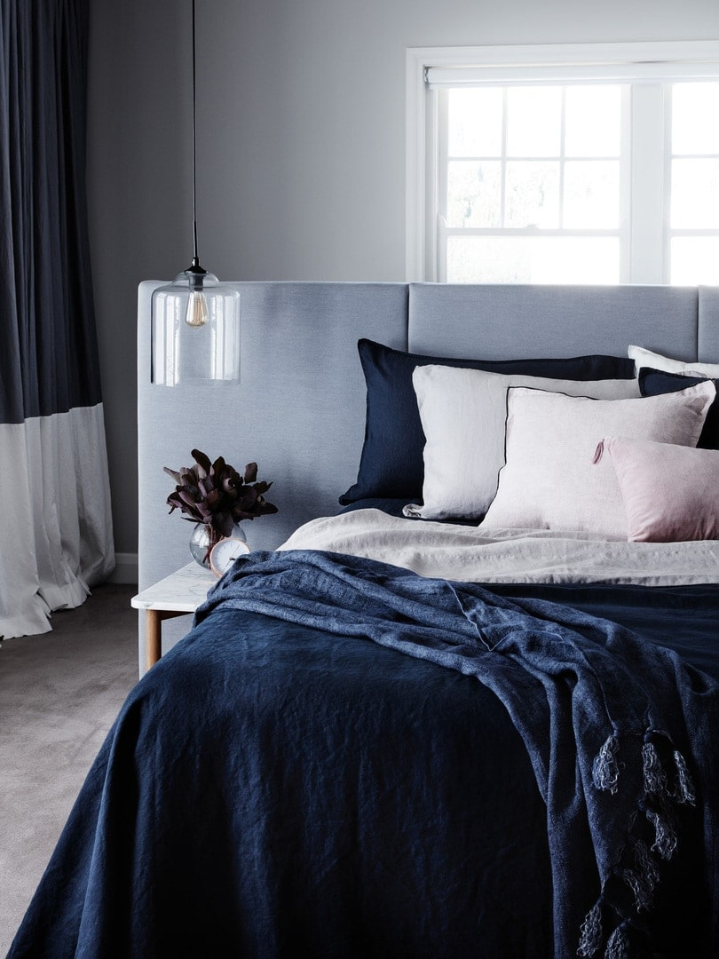 navy blue french linen quilt cover set by lmhome in moody master bedroom