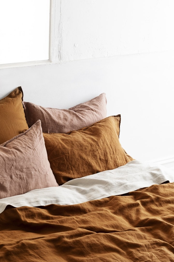 organic french line quilt cover set burnt orange bed linen lmhome