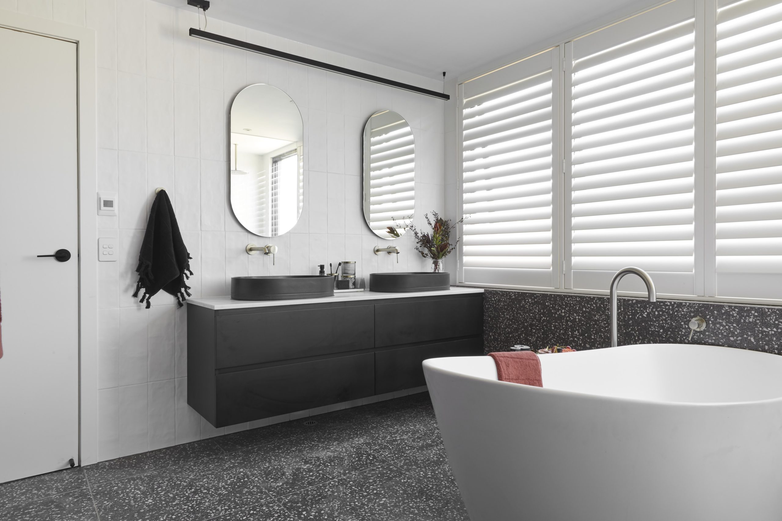 the block tess and luke bathroom with brushed nickel tapware
