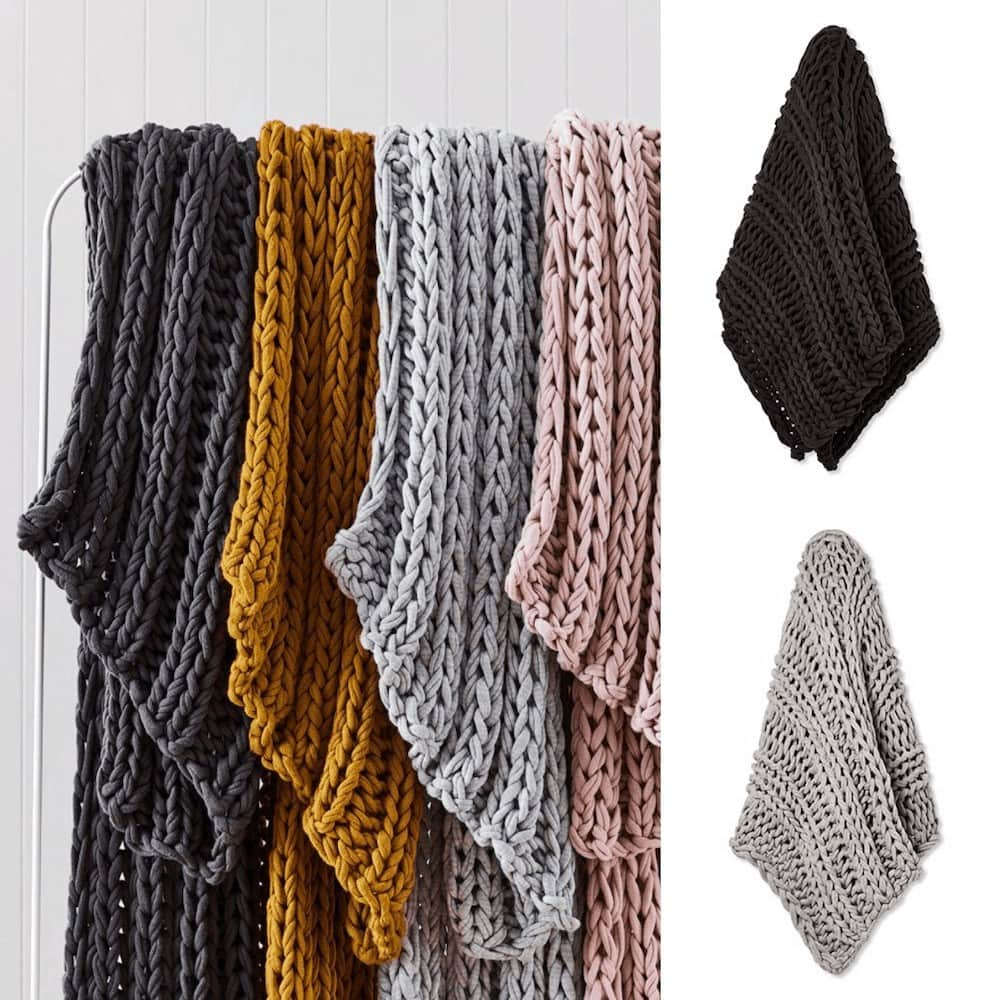Newport Grey Marle Chunky Knit Throw adairs affordable throw blankets