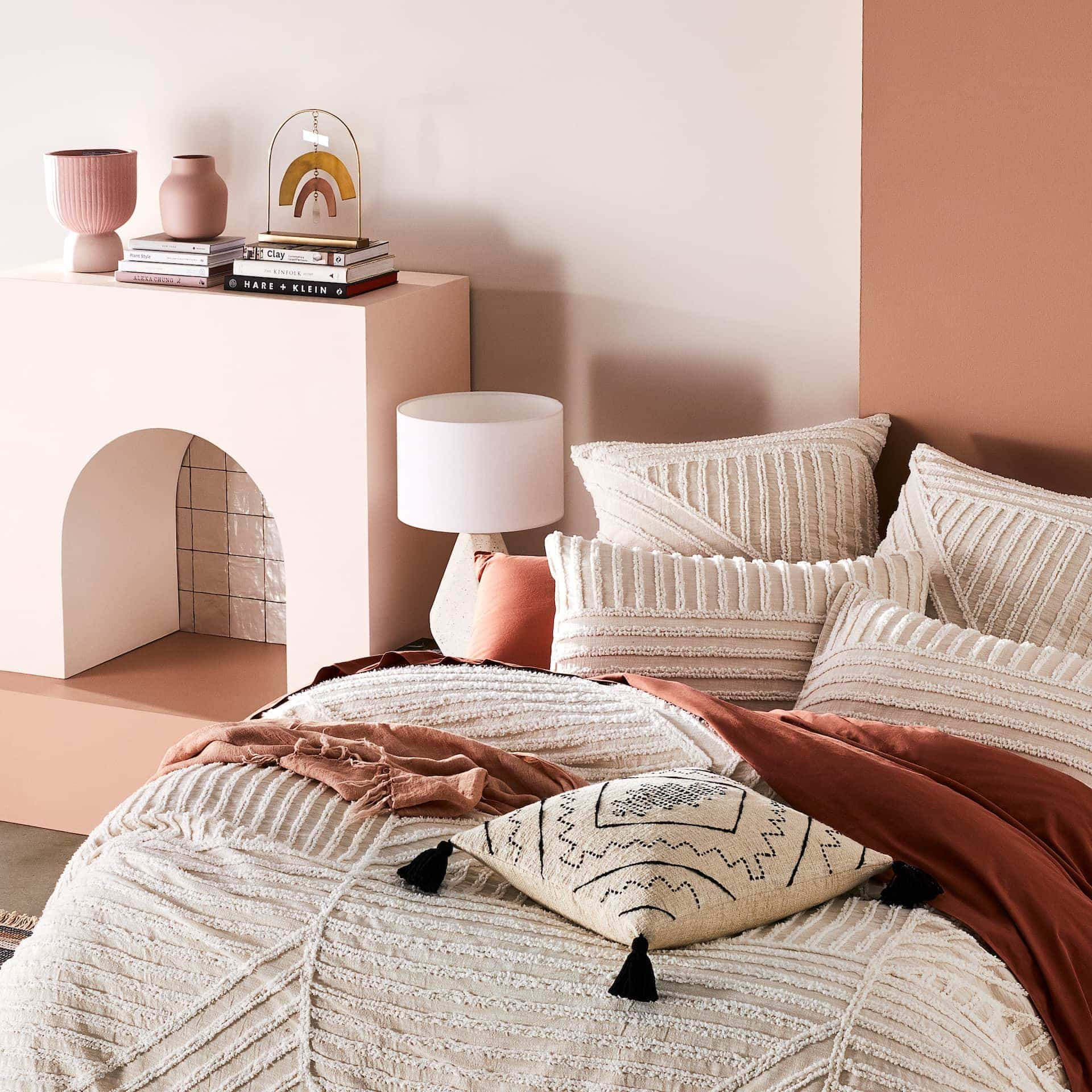 adairs kian chenille bed linen in blush and terracotta bedroom
