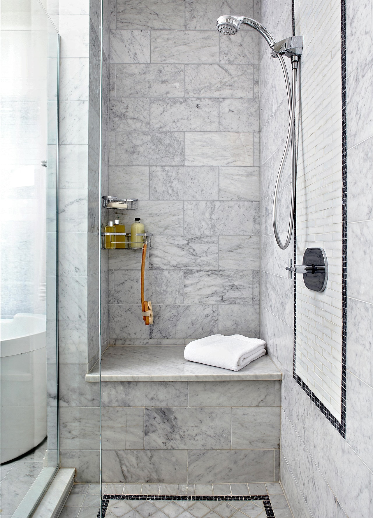 better homes and gardens grey marble tile shower with bench seat