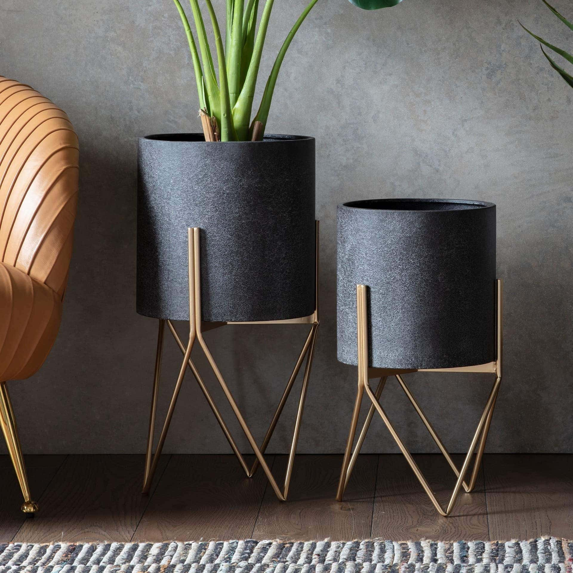 haston metal planter pots stand black indoor plant pot design metal leg