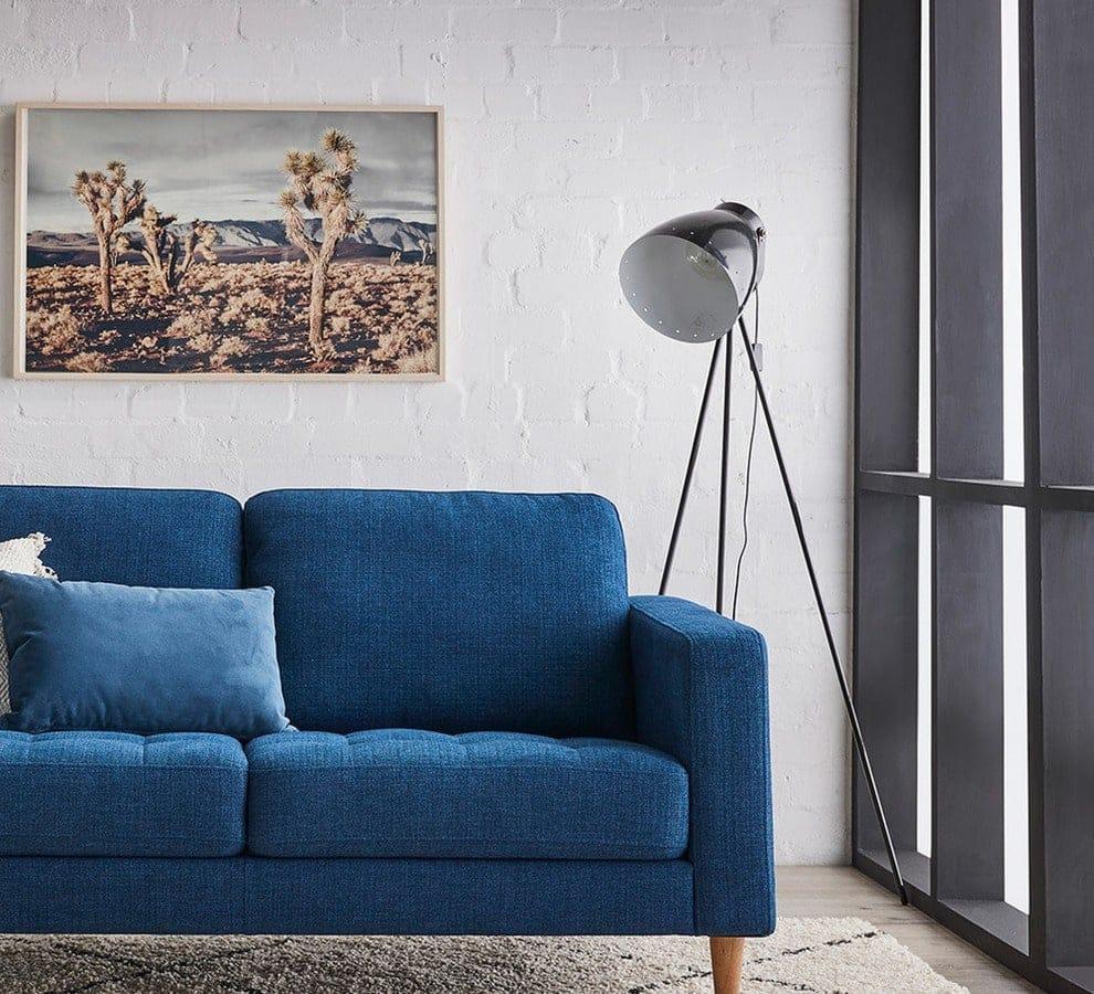 kristoff floor lamp fantastic furniture navy blue sofa