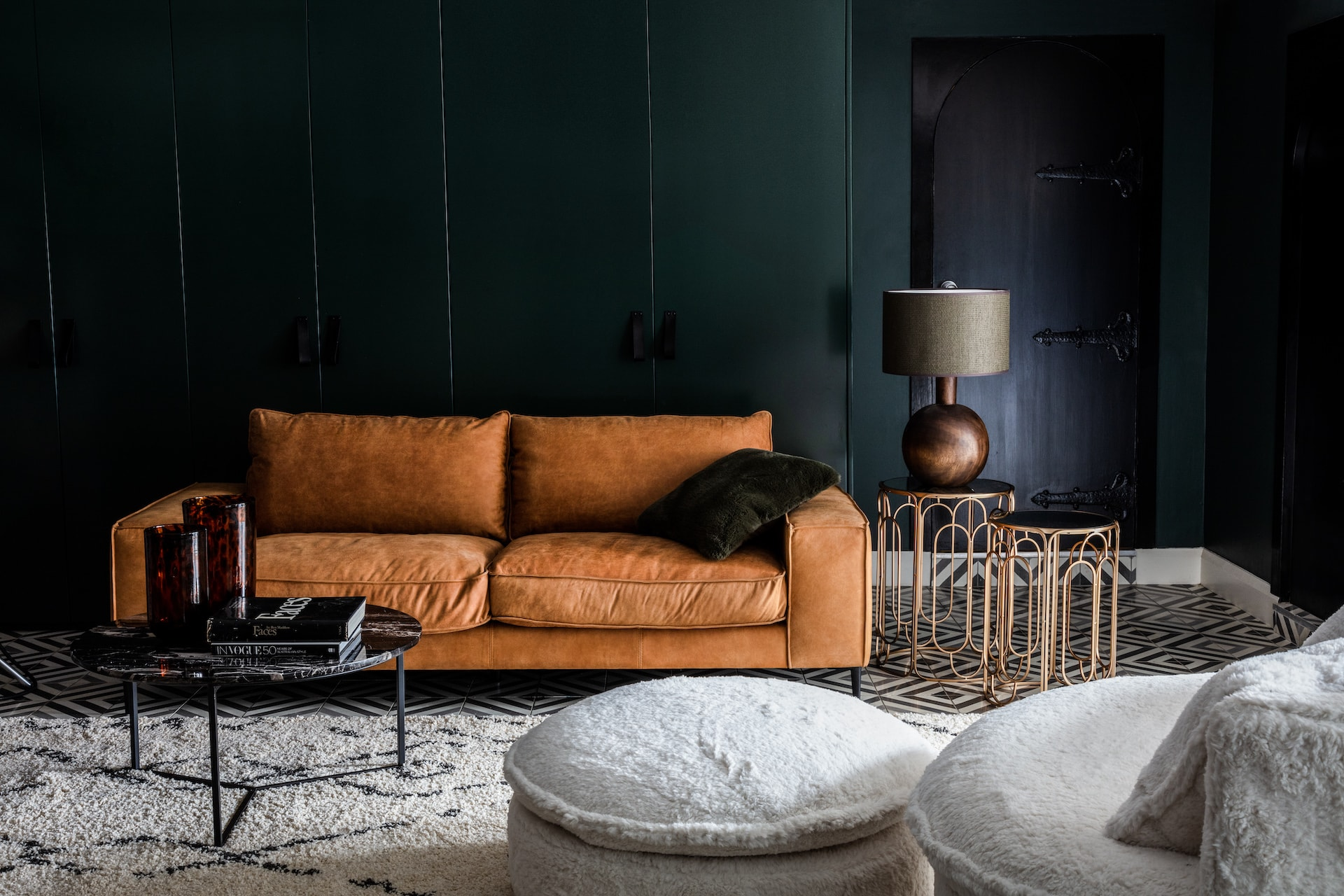 oz design tatum brown leather sofa with piping in urban living room