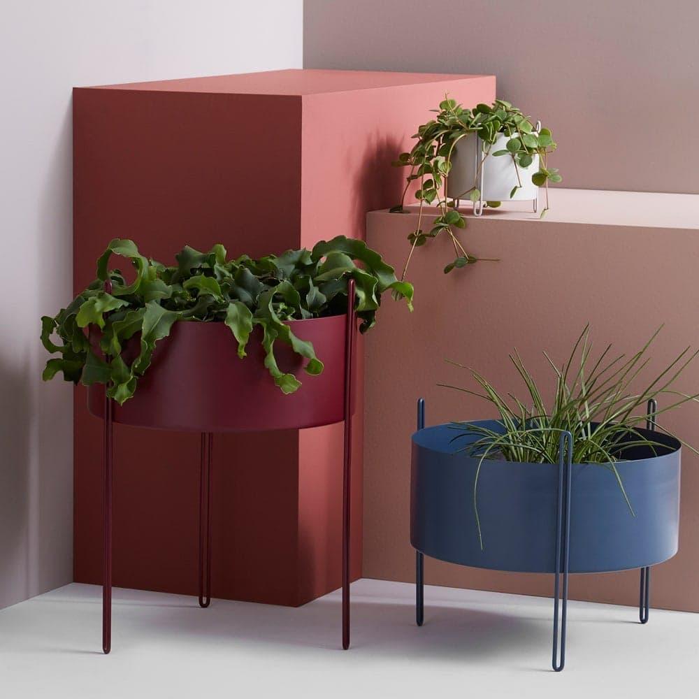 rj living plant pot pidestall flowerpot in red