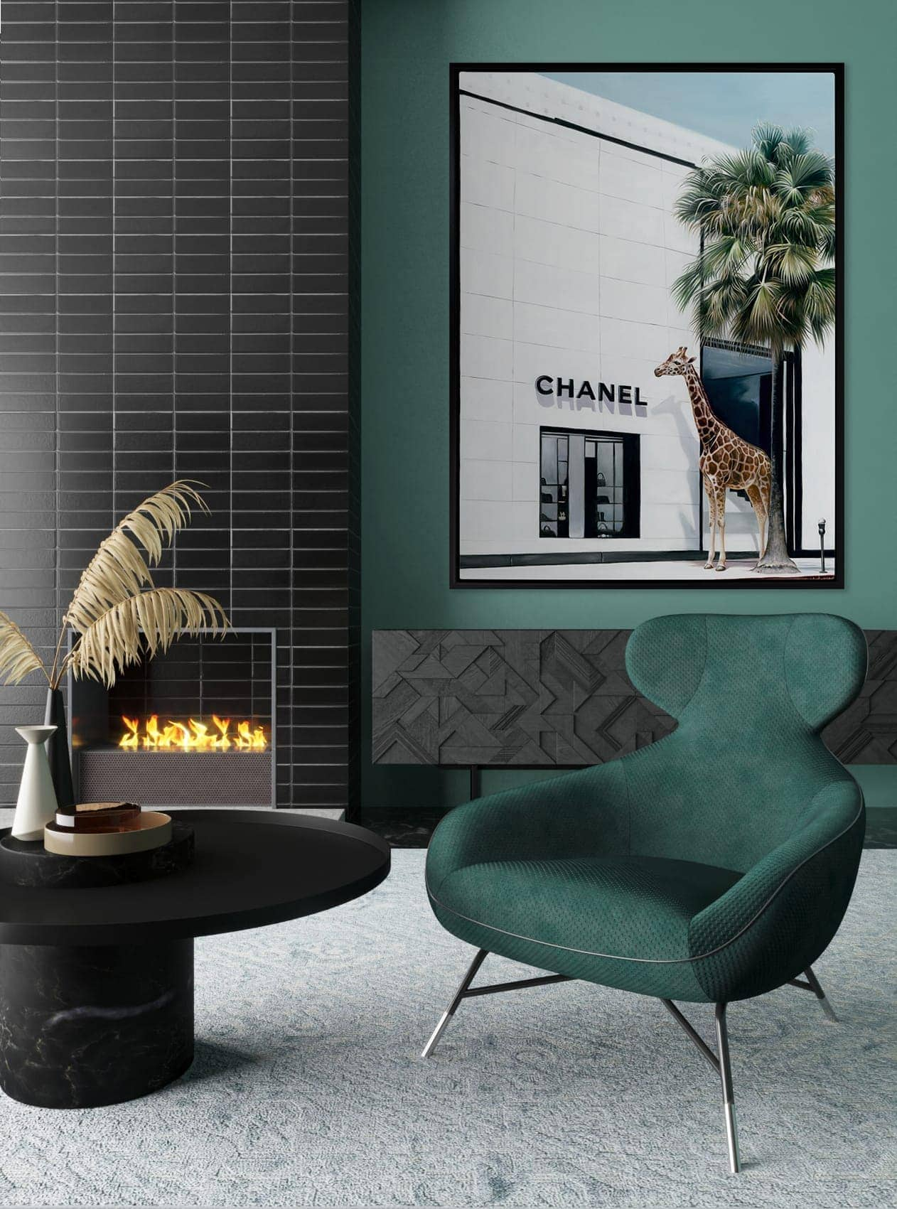 urban road chanel art in living room with emerald green armchair and fireplace