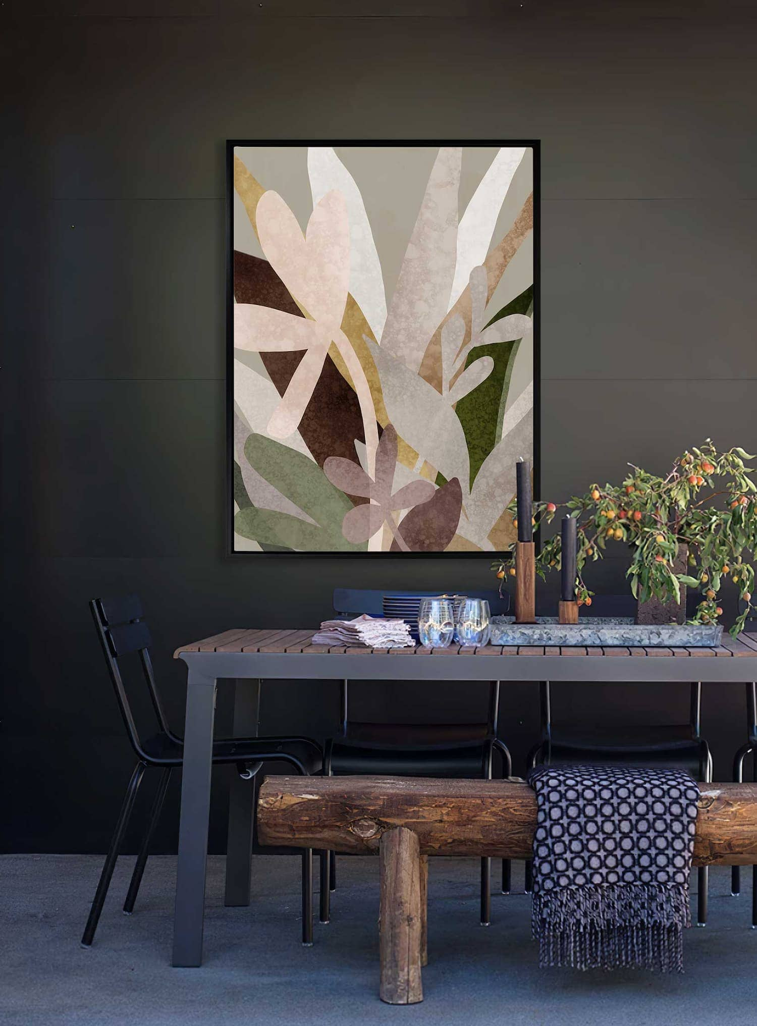 urban road moody abstract art in dark green dining room walls