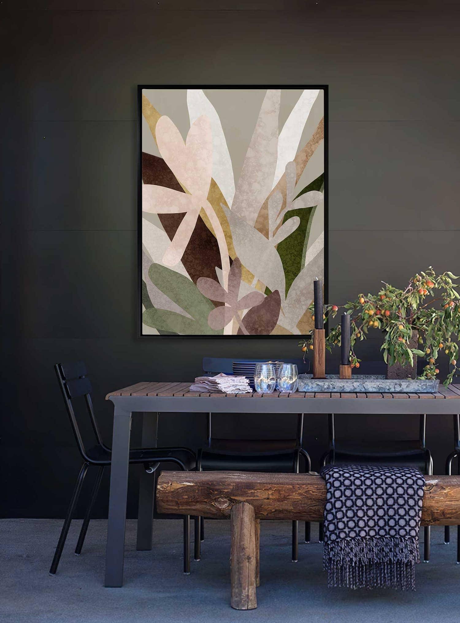 urban road moody abstract art in dark green dining room walls