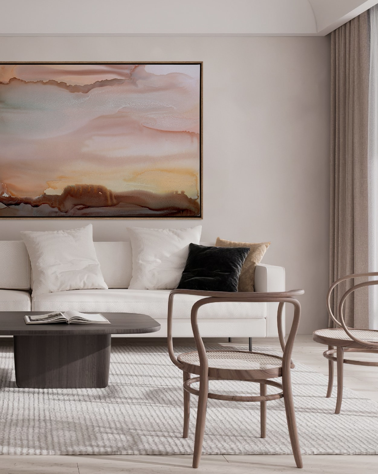 urban road moody abstract art on living room wall beige colours