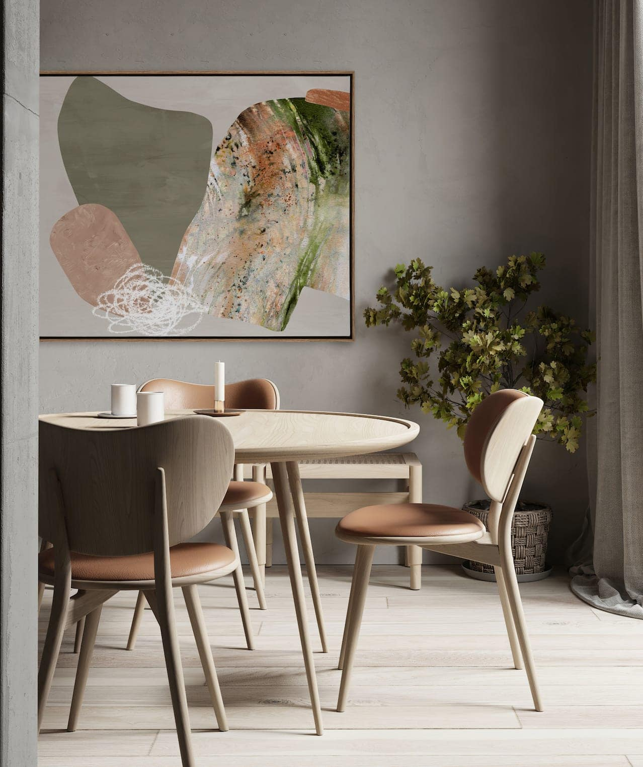 urban road moody abstract artin dining room with sage green walls