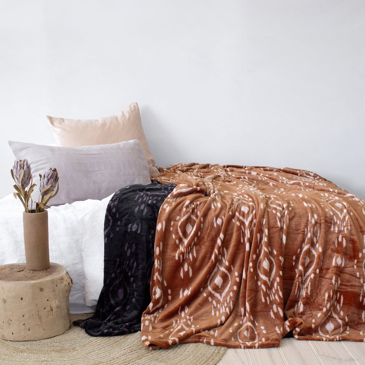 zuni ultra blush blanket affordable throw blanket orange with tribal pattern